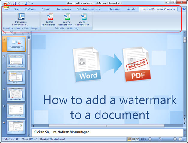 Universal Document Converter Symbolleiste in Microsoft Powerpoint
