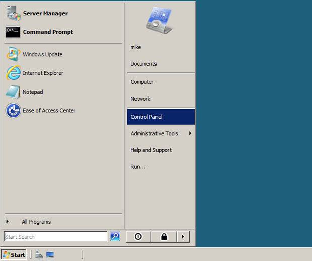 Go to Windows Server Start menu and click Control Panel