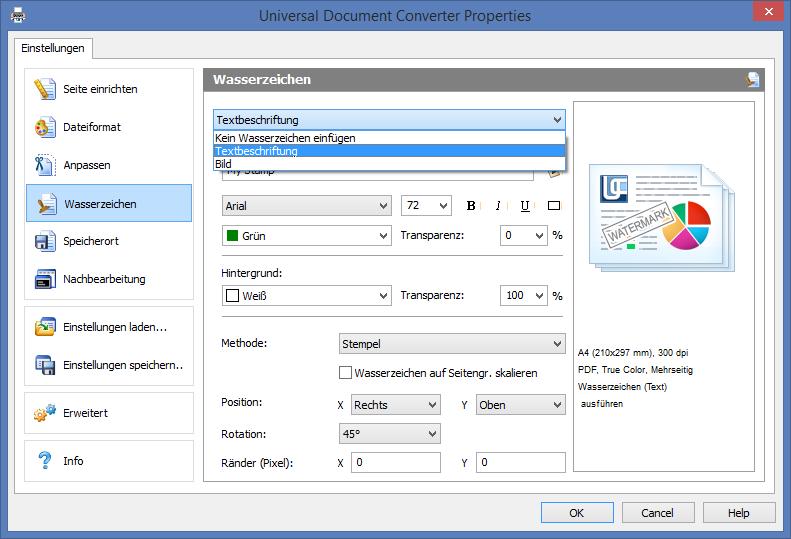 Wasserzeichen hinzufügen in durchsuchbare PDF-Dateien mit der neuen Universal Document Converter 6.8