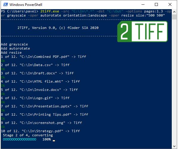 PDF, DOCX, HTML, JPG, PNG von der Befehlszeile aus mit 2TIFF in TIFF konvertieren
